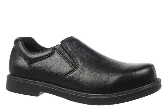Dr. Scholl's Men's Griff Slip-On Work Shoe (Black Leather Slip On Shoes For Men)