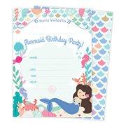 Mermaid Happy Birthday Invitations Invite Cards (25 Count) with Envelopes & Seal Stickers Vinyl