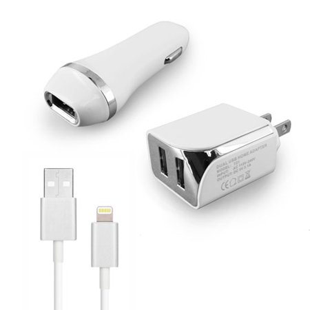 Verizon Apple iPhone 6 Plus Accessory Kit, 3 in 1 White 2.1 Amp Car Adapter & Dual USB Wall Adapter + 5 Feet 8 Pin Data Sync Charging (3 Pin To 5 Pin Dmx Adapter)