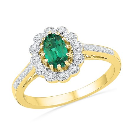 Simulated Diamond Wedding Band Ring (Size - 7 - Solid 10k Yellow Gold Oval Round Green Simulated Emerald And White Diamond Engagement Ring OR Fashion Band Prong Set Solitaire Shaped Flower Ring (1/6 cttw) )