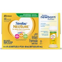 Similac NeoSure Infant Formula with Iron, For Babies Born Prematurely, Ready-to-Feed bottles, 2 ounces (8 bottles)