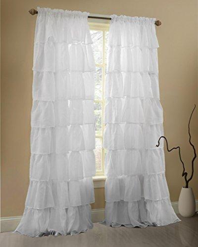 Gee Di Moda White Ruffle Curtains Gypsy Lace Curtains for Bedroom Curtains  for Living Room - White 60x63 inch Ruffled Curtains for Kids Room Shabby ...