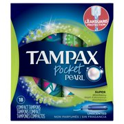 Tampax Pocket Pearl Super Plastic Tampons, Unscented, 18 Ct