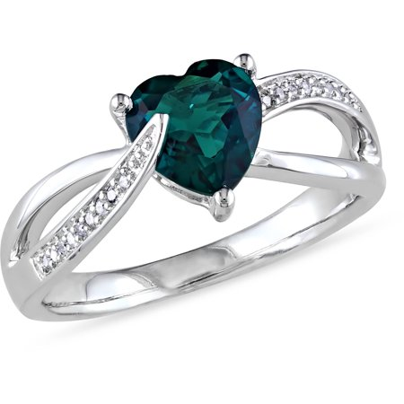 1 Carat T.G.W. Created Emerald and Diamond-Accent Sterling Silver Cross-Over Heart Ring