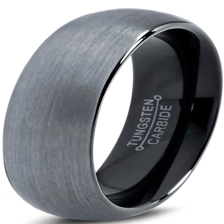 Tungsten Wedding Band Ring 6mm for Men Women Comfort Fit Black  Domed Brushed Lifetime - 6mm Mens Wedding Band
