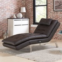 Relax A Lounger Andre Convertible Chaise in Brown Bonded Leather