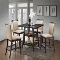"""Canal 5 Piece Counter Height Dining Set, 40"""" Square, Transitional, (Cappuccino Table & 4 Clay Chairs)"""