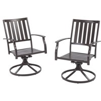 Better Homes and Gardens Camrose Farmhouse Outdoor Mix and Match Slat-Back Swivel Chairs, Set of 2