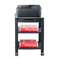 Mind Reader 3-Shelf Printer Cart, Stand with Wheels, Drawer, Cord Management, Black