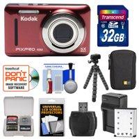 KODAK PIXPRO Friendly Zoom FZ53 Digital Camera (Red) with 32GB Card + Battery & Charger + Case + Flex Tripod + Kit