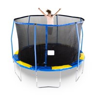 Bounce Pro 12-Foot Trampoline, with Flashlight Zone, Blue/Yellow