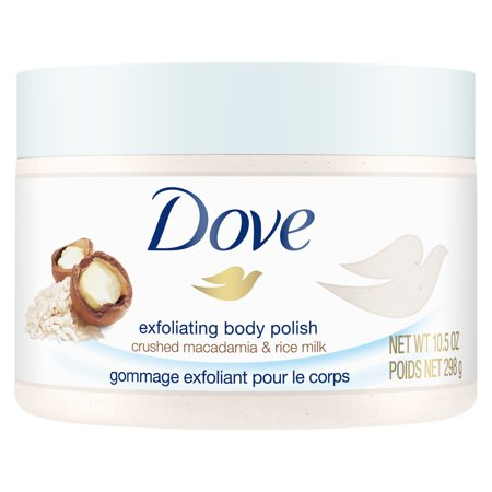 - Dove Macadamia & Rice Milk Exfoliating Body Scrub, 10.5 oz