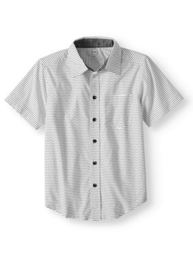 Short Sleeve Stretch Button Up Wavy Stripe Shirt (Little Boys, Big Boys, & Husky)