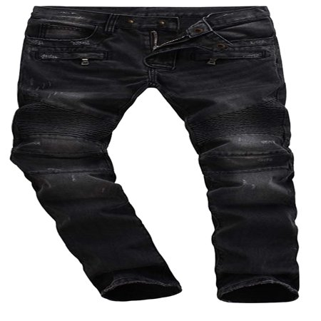 Mens Skinny Destroyed Biker Slim Fit Straight Fashion Stretch Biker Zipper