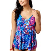 f8573a7e60bb8 Swim Solutions Womens Bali Floral Print Draped Tankini Top 8 Multi Swimsuit