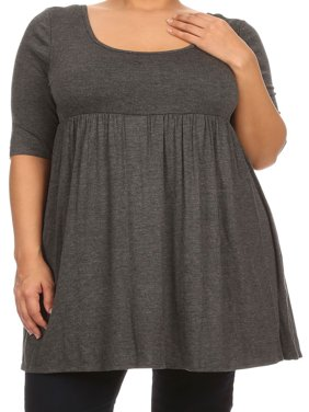 b0729aba5ee Product Image Women Plus Size Half Sleeve Solid Babydoll Casual Tunic Top  Dress Charcoal XL (D240 SD