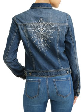 Angela Embroidered Evil Eye Denim Jacket Women's (Medium Indigo Wash)