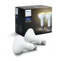 Philips Hue White Ambiance BR30 Smart Light Bulb, 65W LED, 2-Pack