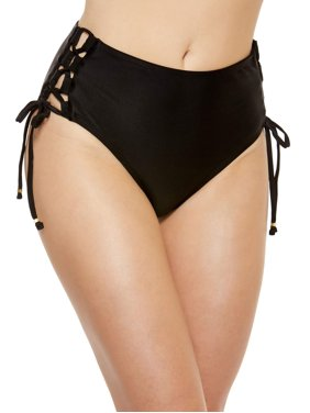 Women's High-Waisted Solid Bikini Brief Swim Bottom w/Lace-Up Detail