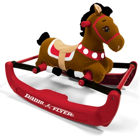 Radio Flyer, Soft Rock & Bounce Pony with Sounds, Rocking (Bounce House Green)