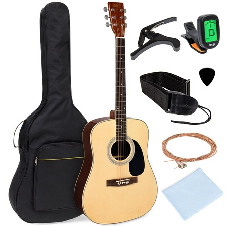 Best Choice Products 41in Full Size All-Wood Acoustic Guitar Starter Kit w/ Foam Padded Gig Bag, E-Tuner, Pick, Strap Alvarez Acoustic Guitar Picks