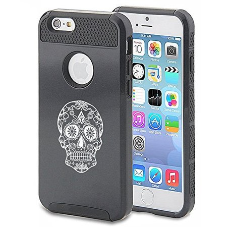 For Apple iPhone 7 Shockproof Impact Hard Soft Case Cover Sugar Candy Skull (Black)
