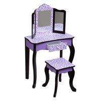 Teamson Kids - Fashion Leopard Prints Gisele Vanity Table & Stool Set - Purple / Black
