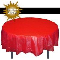 Exquisite 12 Pack Premium Red Plastic Tablecloth, 84 Inch Round