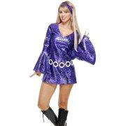 0a3c77d084f83 Womens Purple Swirl Disco Diva Short Skirt Dress 70 s Dance Costume Large  11-13