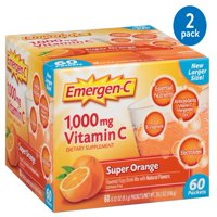(2 Pack) Emergen-C (60 Count, Super Orange Flavor) Dietary Supplement Fizzy Drink Mix With 1000mg Vitamin C, 0.32 Ounce Packets, Caffeine Free