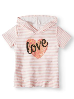 Embellished Love Striped Hoodie Top (Big Girls)