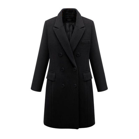 Winter Womens Plus Size Wool Lapel Long Coat Trench Parka Jacket Overcoat Outwear - Front Tie Wool Jacket