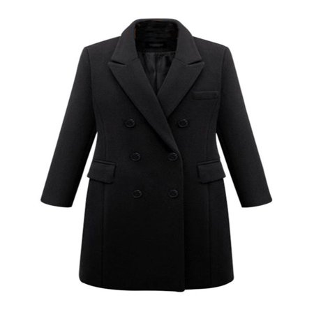 Winter Womens Plus Size Wool Lapel Long Coat Trench Parka Jacket Overcoat - Black Wet Weather Parka