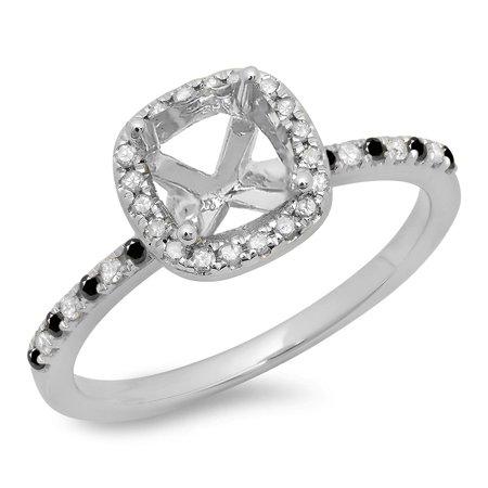 Dazzlingrock Collection 0.30 Carat (ctw) 10K Black And White Diamond Semi Mount Engagement Ring 1/3 CT, White Gold, Size 7.5