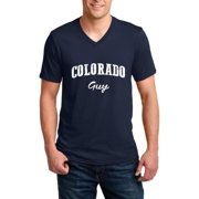 J_H_I CO Guy Home of CU Denver Boulder UCCS University of Colorado Springs Map Flag Men V-Neck Shirts Ringspun