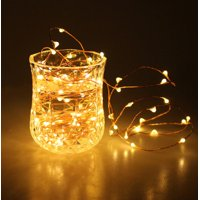 Unido Box 2 Pack LED Fairy String Lights, Warm White, 20 LED 7'ft/2m Copper Wire Battery Waterproof
