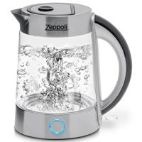 Zeppoli Electric Kettle (BPA Free) - Fast Boiling Glass Tea Kettle (1.7L) Cordless, Stainless Steel Finish Hot Water Kettle Glass Tea Kettle, Tea Pot Hot Water Dispenser