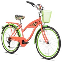"""Margaritaville 24"""" Girls', Island Life Multi Speed Bicycle, Coral/Green, For Ages 12 and Up"""