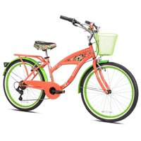 "Margaritaville 24"" Girls', Island Life Multi Speed Bicycle, Coral/Green, For Ages 12-14"