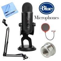 Blue Microphones Yeti Professional USB Desk Microphone - Blackout (BLACKOUTYETI) + Suspension Boom Scissor Arm Stand + Pop Filter Microphone Wind Screen + Mic Stand Adapter + MicroFiber Cloth