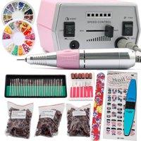 iMeshbean Colorful Complete Professional Electric Nail File Drill Machine Art Bits Acrylic Manicure Pedicure Beauty DIY Kit w/Nail Cap