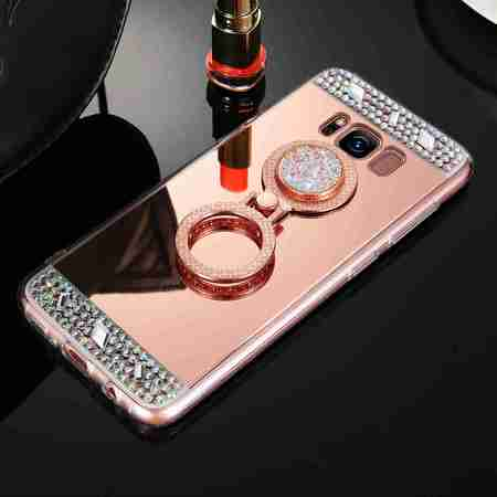 Rhinestone Back Case (Dteck Rhinestone Diamond Bling Mirror Ring Back TPU Rubber Skin Case Cover,For Samsung Galaxy J7)