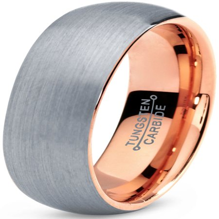- Tungsten Wedding Band Ring 7mm for Men Women Comfort Fit 18K Rose Gold Plated Plated Domed Brushed Lifetime Guarantee