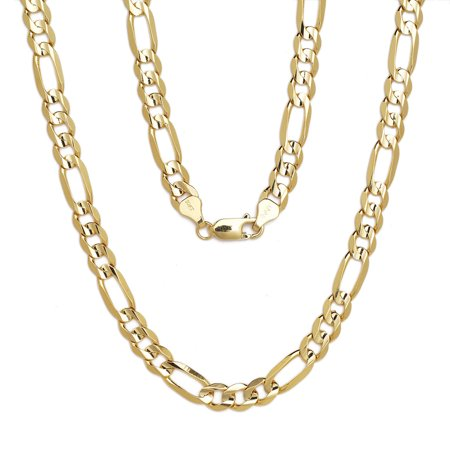 10k Yellow Gold Figaro Chain Necklace with Concave Look, 0.25 Inch