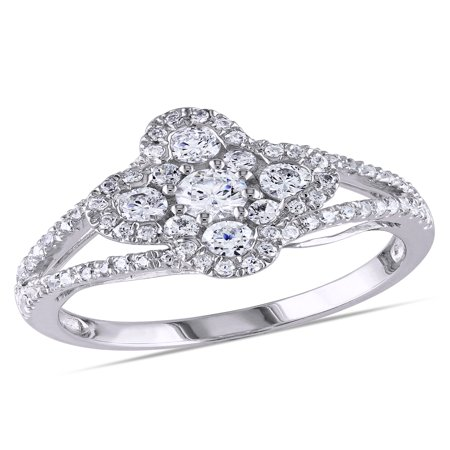 Miabella 1-1/3 Carat T.G.W. CZ Sterling Silver Split Shank Engagement Ring
