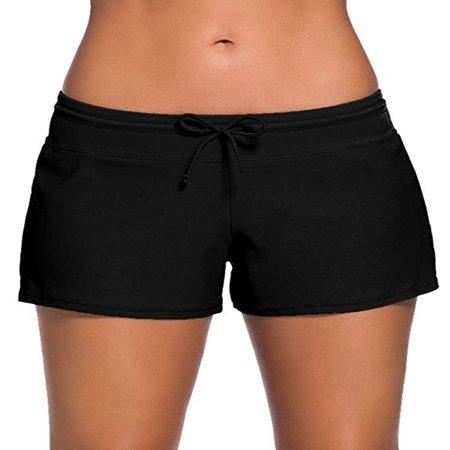 SAYFUT Women's Sports Swim Bottom Slit Swim Waistband Tankini Beach Board Shorts Plus Size Swimwear Trunks
