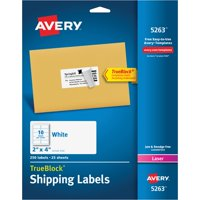 Avery(R) Shipping Labels with TrueBlock(R) Technology for Laser Printers 5263, 2 x 4, Pack of 250