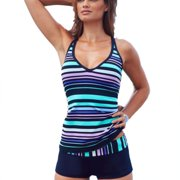 f9dc3f51495 Plus Size Women Tankini Striped Padded Push Up Boxer Brief Swimsuit  Swimwear Bikini Set Vest Top