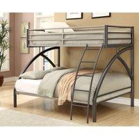 Coaster Twin Over Full Metal Bunk Bed, Dark Metal Finish