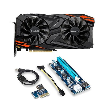 Gigabyte Radeon RX VEGA 56 GAMING OC 8G Graphic Card - GV-RXVEGA56GAMING OC-8GD and Riser for for ETH Etheruem ZEC Zcash XMR Monero Cryptocurrency